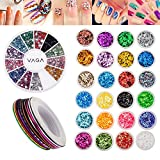 Amazing Value Best Quality Set Kit of Nail Art Accessories Decorations With 24 Coloured Glitters / Caviars / Crystals, 10 Rolls Striping Tapes / Lines Strips And 2400pcs Wheel With Rhinestones / Gemstones / Jewels In 12 Different Colours By VAGA®