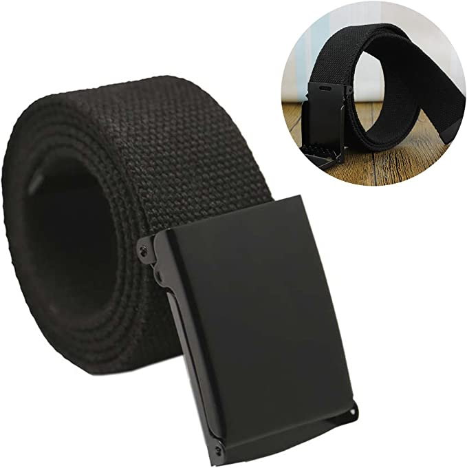 Unisex Canvas Web Belt Flip-Top Black Buckle 43 Long 1.5 Wide