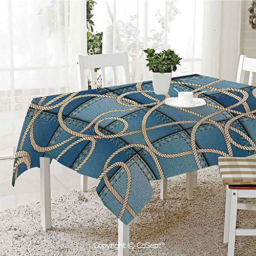 SCOXIXI Wrinkle Free and Stain Resistant Tablecloth,Various Patches of Denim in Sea with Sailor Knot Rope on Foreground Image Art,Spill Proof,Machine Washable,Tablecloth for Use(60.23