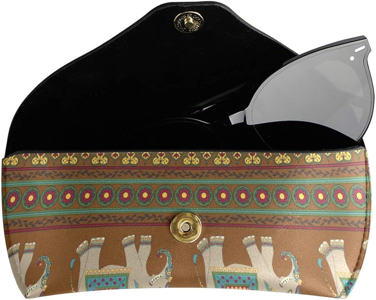 Estuche de gafas de sol de cuero de la PU Estuche de anteojos Arte Animal étnico Elefante Tribal Stripe Gafas portátiles Bolsa Almacenamiento Multiuso: Amazon.es: Ropa y accesorios