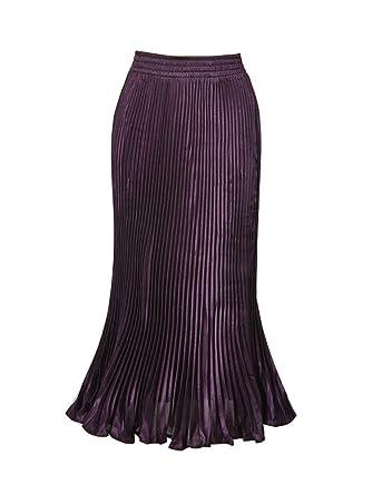 741ce398f68a3 OCHENTA Women s Fishtail Accordion Pleated Maxi Skirt Outfit-Purple ...