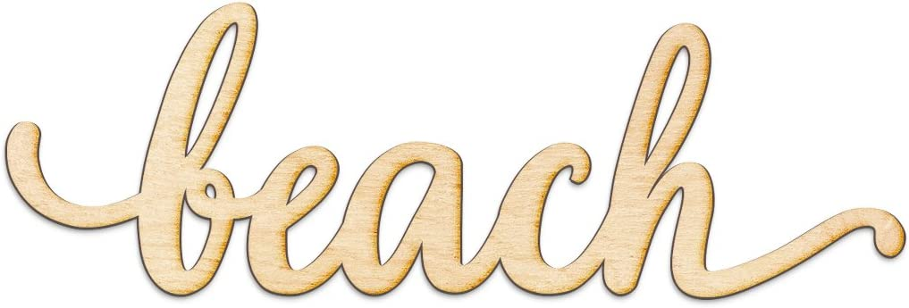 """Beach Script Wood Sign Home Decor Wall Art Unfinished Charlie 24"""" x 8"""""""