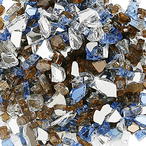 QuliMetal 1/2 Inch Fire Glass Blended Pacific Blue, Platinum, Copper Reflective for Indoor and Outdoor Gas Fire Pits and Fireplaces, 10 Pound
