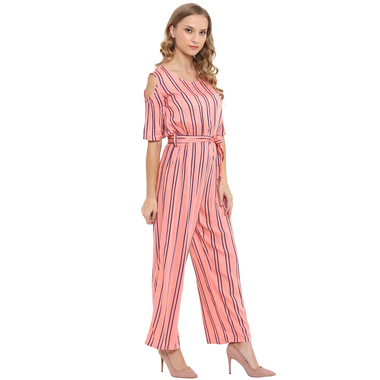 865779d7a3 Molly&Michel Women's Casual Half Sleeves Striped Jumpsuit for Girl:  Amazon.in: Clothing & Accessories