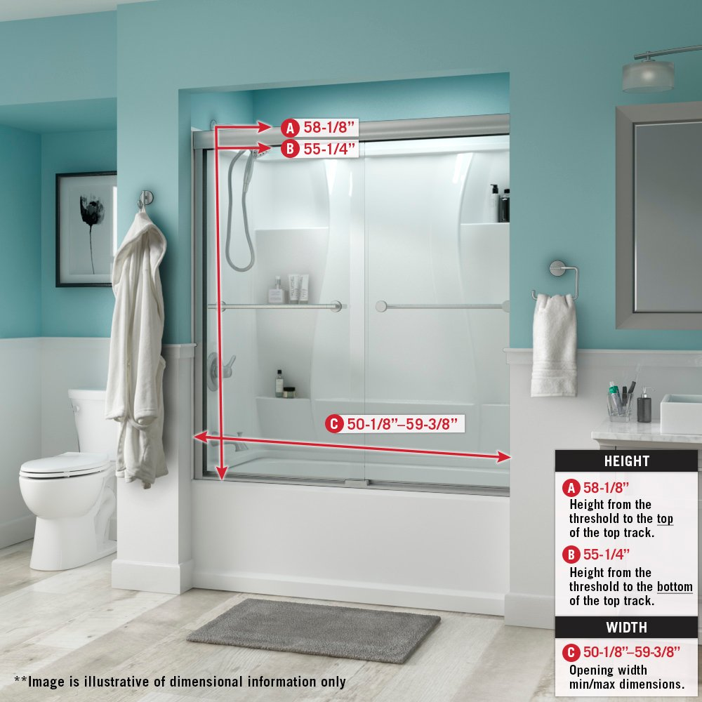 Delta Shower Doors SD3276592 Windemere 60'' Semi-Frameless Traditional Sliding Bathtub Door in Chrome with Clear Glass by DELTA FAUCET (Image #3)