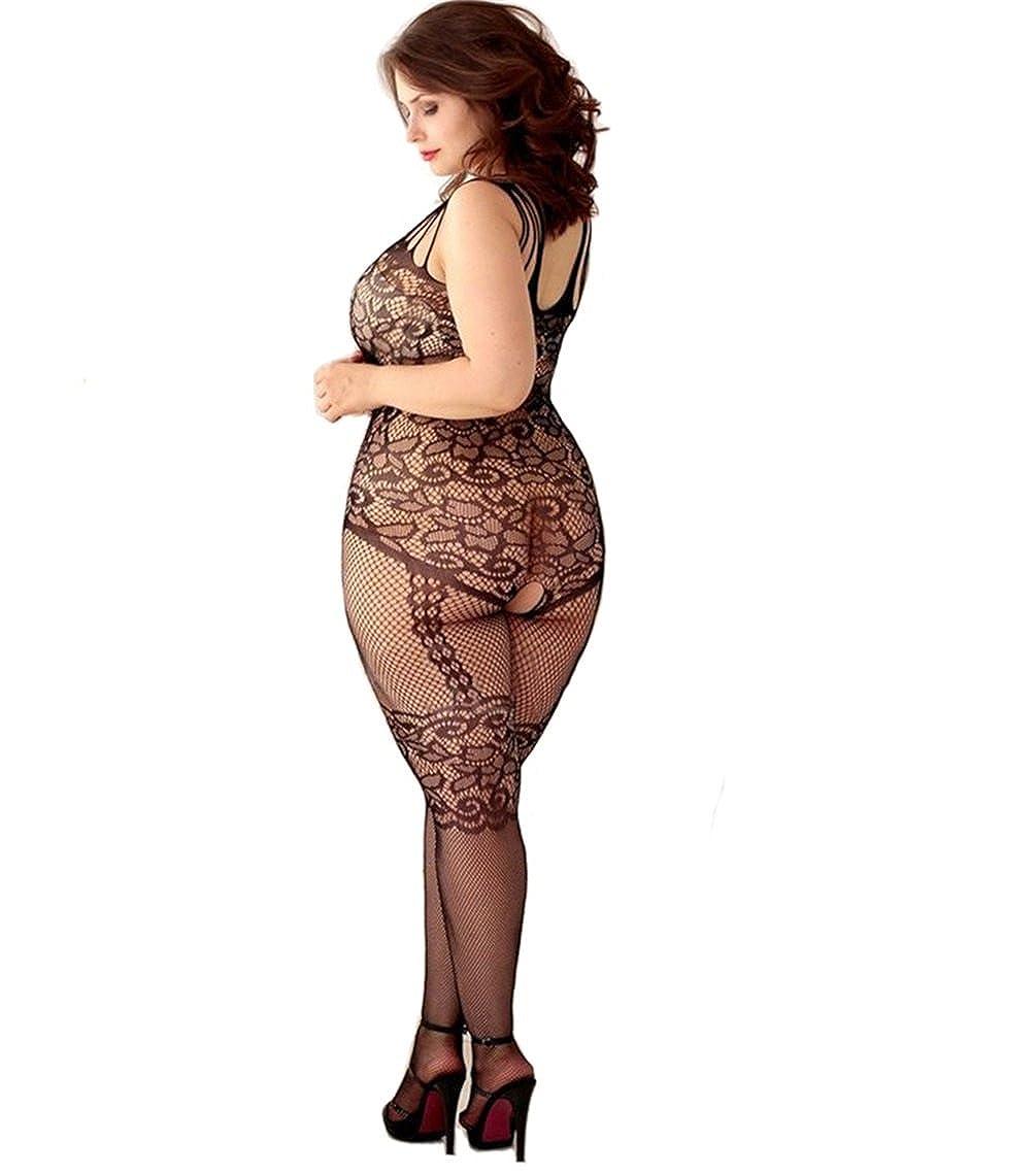 2cf1b519c7e Amazon.com: Curbigals Women's Floral Crotchless Bodystocking Plus Size Open  Crotch Fishnet Lingerie (Black, Plus): Clothing