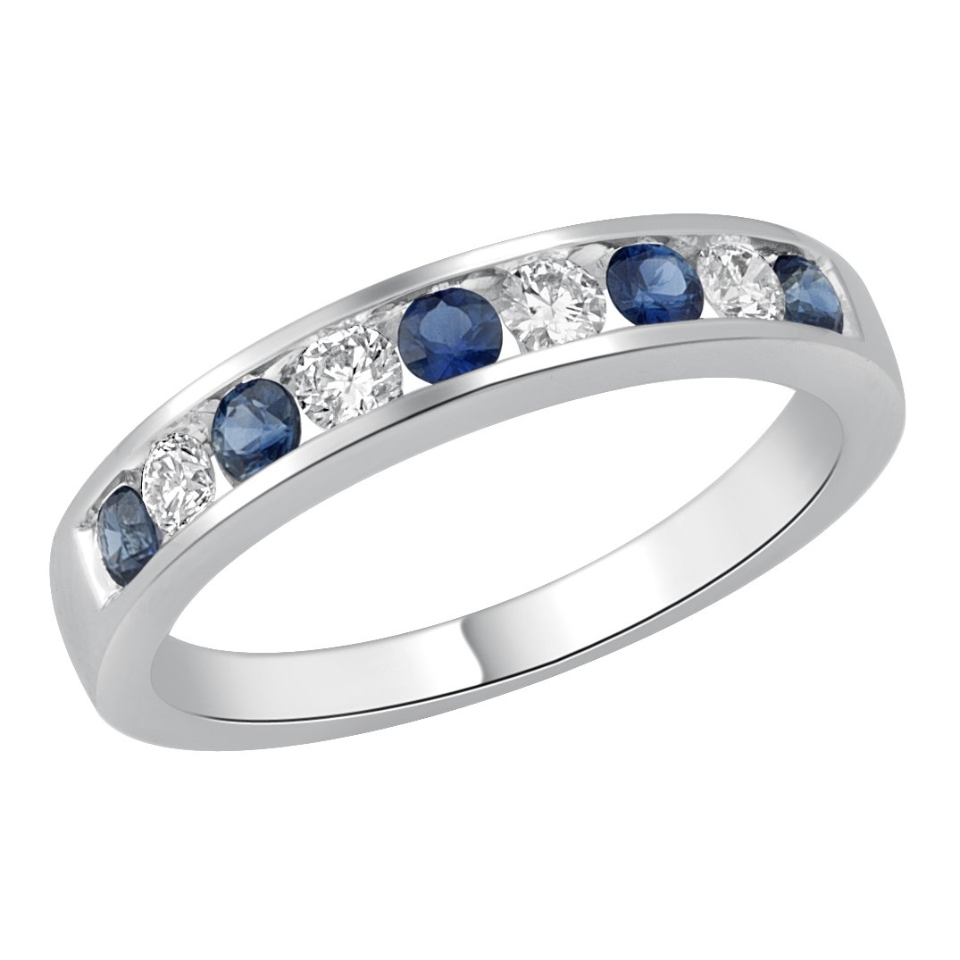 Jewel Ivy 14K White Gold Ring with Sapphire and Diamond (I2-I3-G-H-I) Size US-6.5-6.75 Fine Jewelry, Best For Gifting Wife, Girlfriend, Friend
