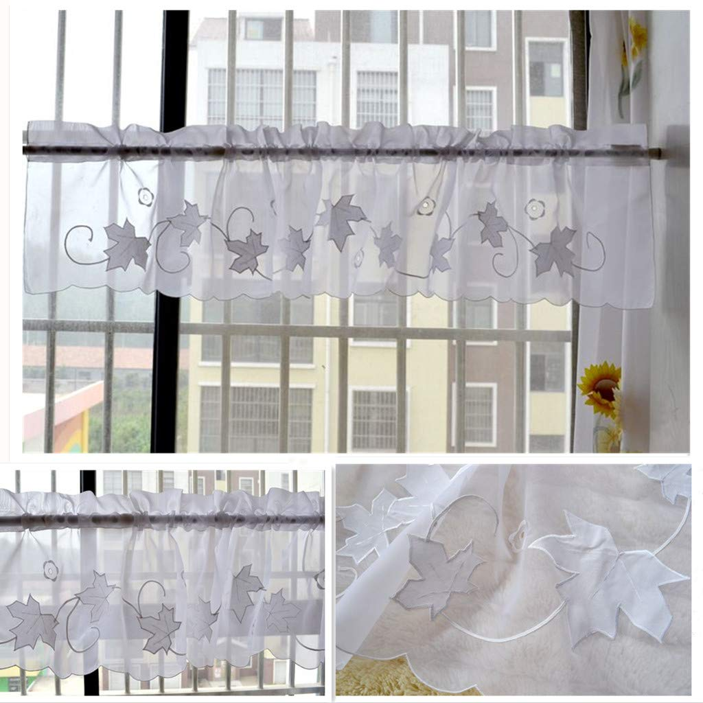 Tiers Home Kmsg Lattice Cafe Curtains 2 Pc Home Decor Curtain Panels Drape Floral Embroidery Tier Curtains Swags Sheer Curtain Valance Set Rod Pocket Kitchen Curtain Door Curtain For Dining Room Living