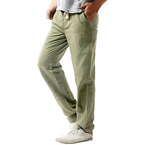 8c7bf1a5108579 Pottoa Herren Männer Hose Lose Leinenhosen Casual Hosen Lässige Strandhose  Slim Fit Hose Pant Solid Hose