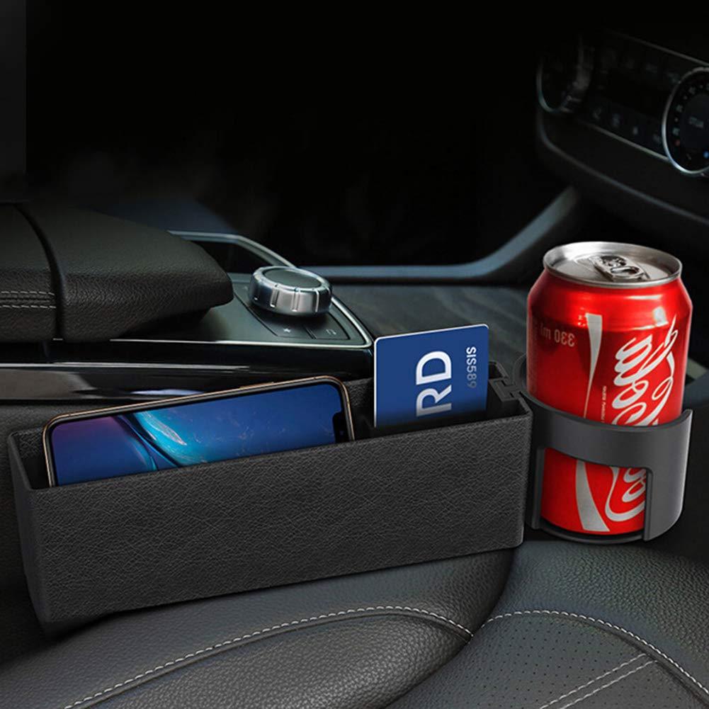 iSpchen Seggiolino Auto Tasca a Soffietto Laterale per Console Organizer Auto con Supporto Tazza dAcqua per Carta Telefono Portamonete Accessori Chiave