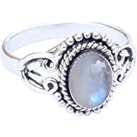 Sara Creation Rainbow Moonstone Ring - 925 Silver Plated Genuine Moonstone Ring for Woman Girl Gift Size 5 6 7 8 9 10