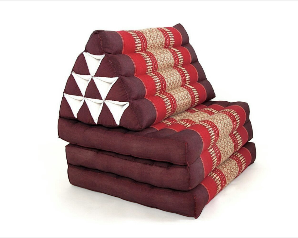 Foldout Triangle Thai Cushion, 67x21x3 inches, Kapok Fabric, Red, Premium Double Stitched by Thai OTOP by Kaikeng