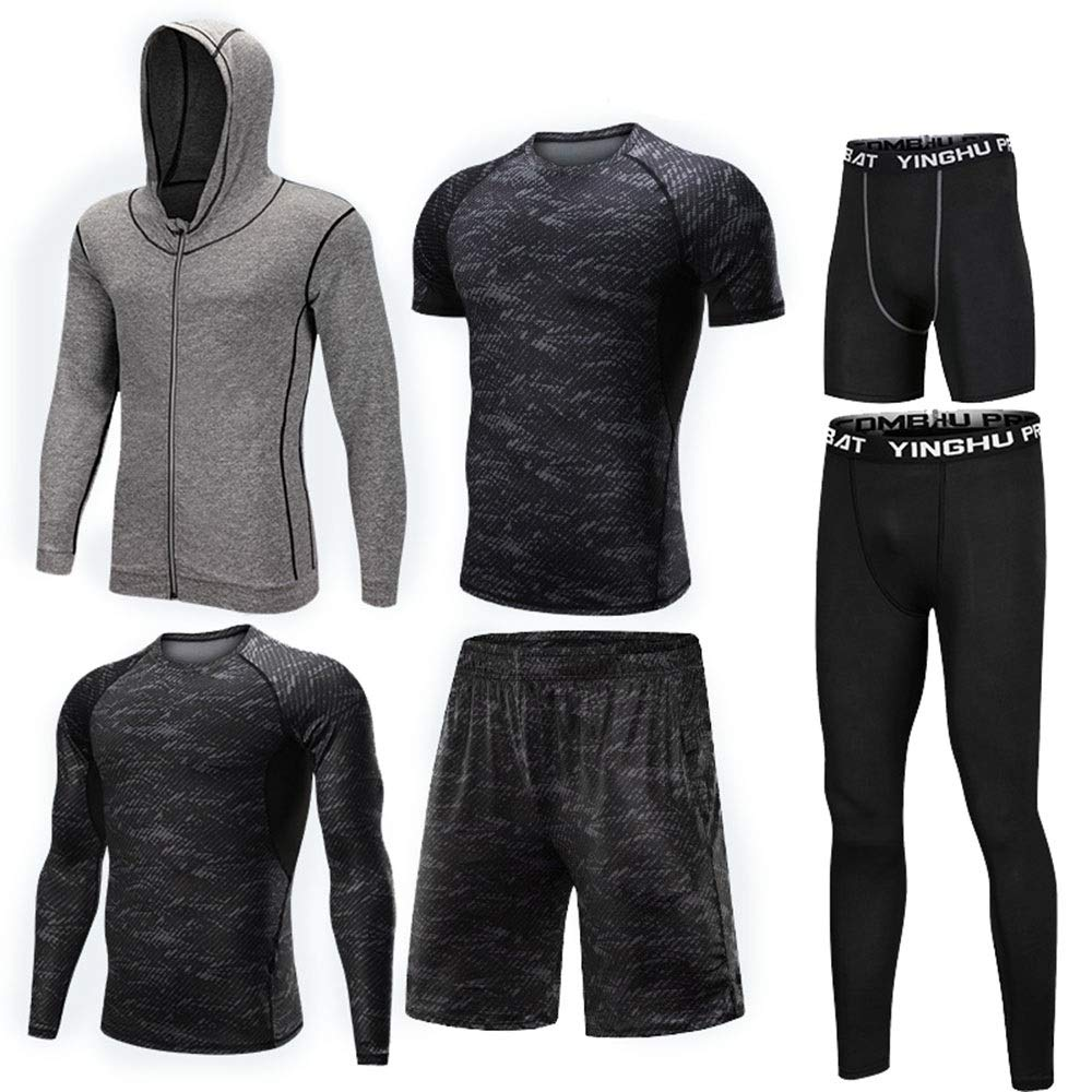 Gym Wear Fitness Bekleidung Set 6 Stück Herren Fitnessstudio Fitness Unterwäsche Set Mit Outwear, Compression Langarmhemd, Compression Enge Hose, Compression Kurzarm T-Shirt, Lose Shorts, Compression