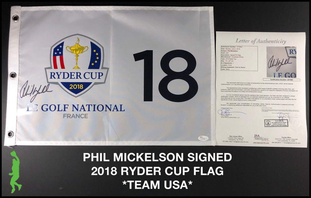 Phil Mickelson Signed Autograph 2018 Ryder Cup Pin Flag Pga Tour Sports Memorabilia JSA Certificate of Authenticity Included Loa