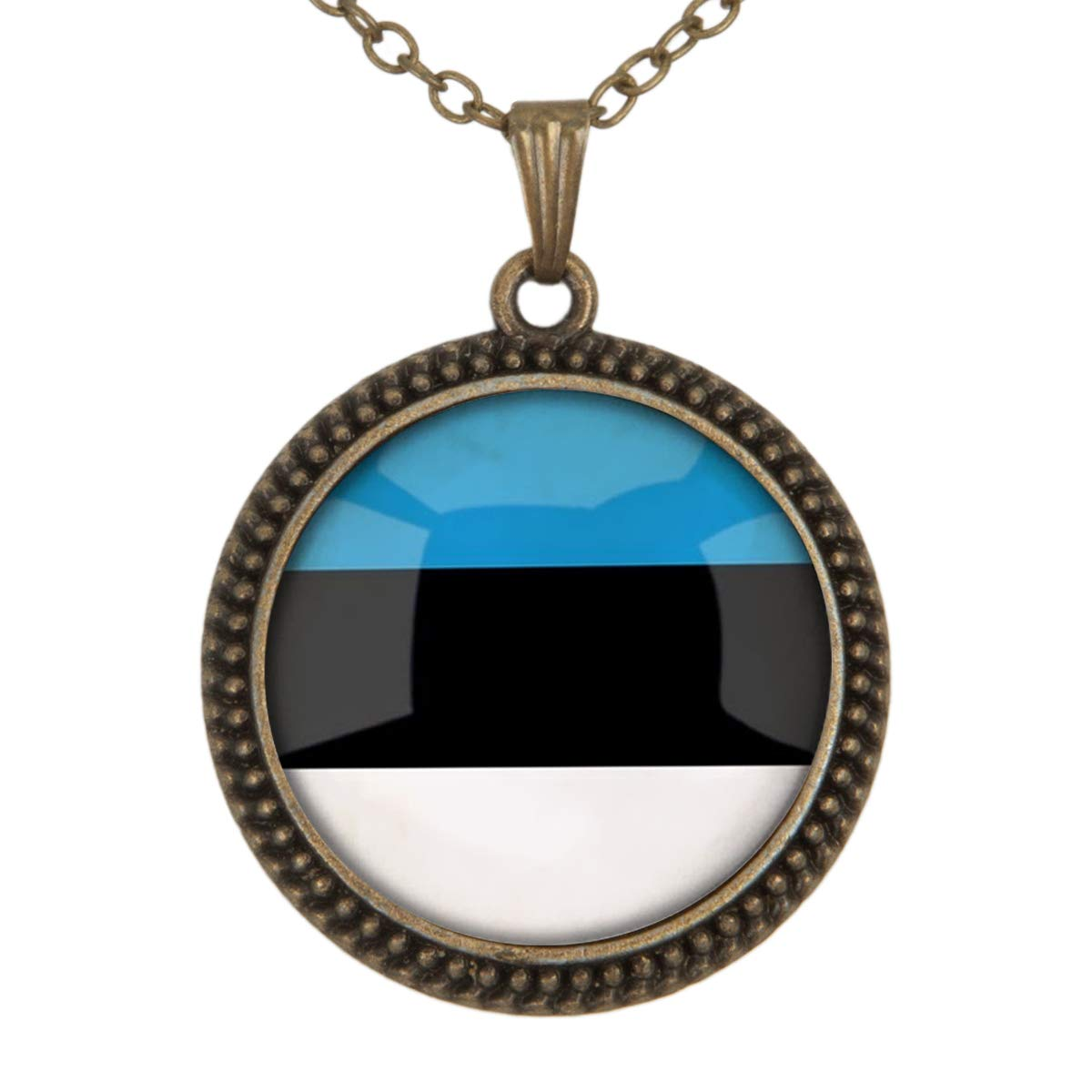 Family Decor The Republic of Estonia National Flag Pendant Necklace Cabochon Glass Vintage Bronze Chain Necklace Jewelry Handmade