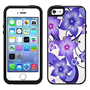 Skin Decal for OtterBox Symmetry Apple iPhone 5 Case - Purple Dahlia Flowers on White