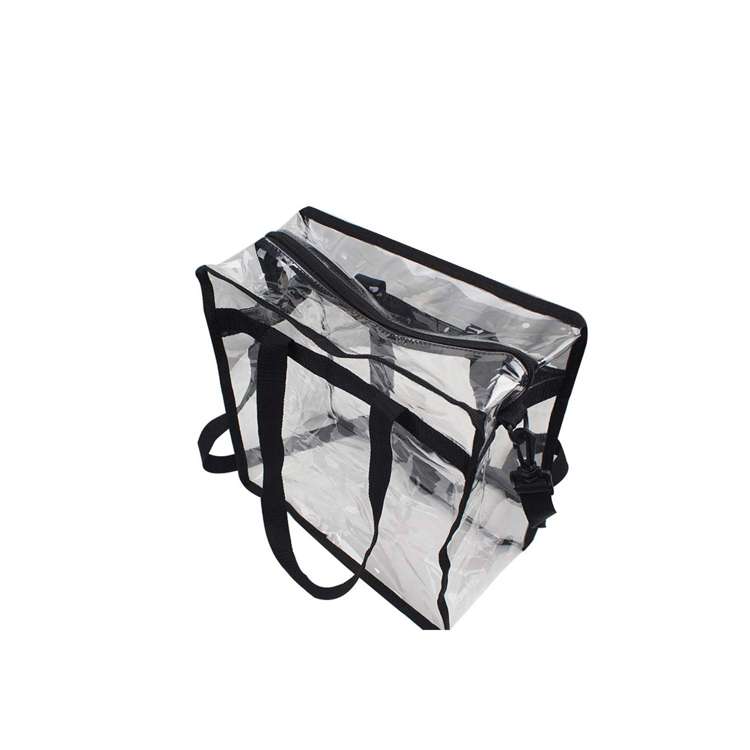 "Premium Clear Stadium Approved Bag - Clear Tote Bag with Cross Body Messenger Adjustable Shoulder Strap-12"" X 12"" X 6"""