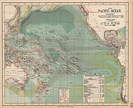 Océano Pacífico corrientes Británico Francés Alemán US Español Colonias. Letts Old Map – diseño envejecido