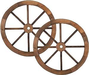 2Pcs Wooden Wheel,Old Western Style Garden Art Wall Decor Wooden Wagon Wheel Brown (24-Inch)