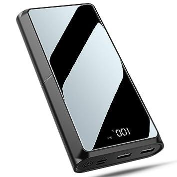 Bewahly Batería Externa 20000mAh, Alta Capacidad Power Bank Cargador Portátil con Pantalla LCD, Bateria Portatil para Movil con 2 Salida USB para ...