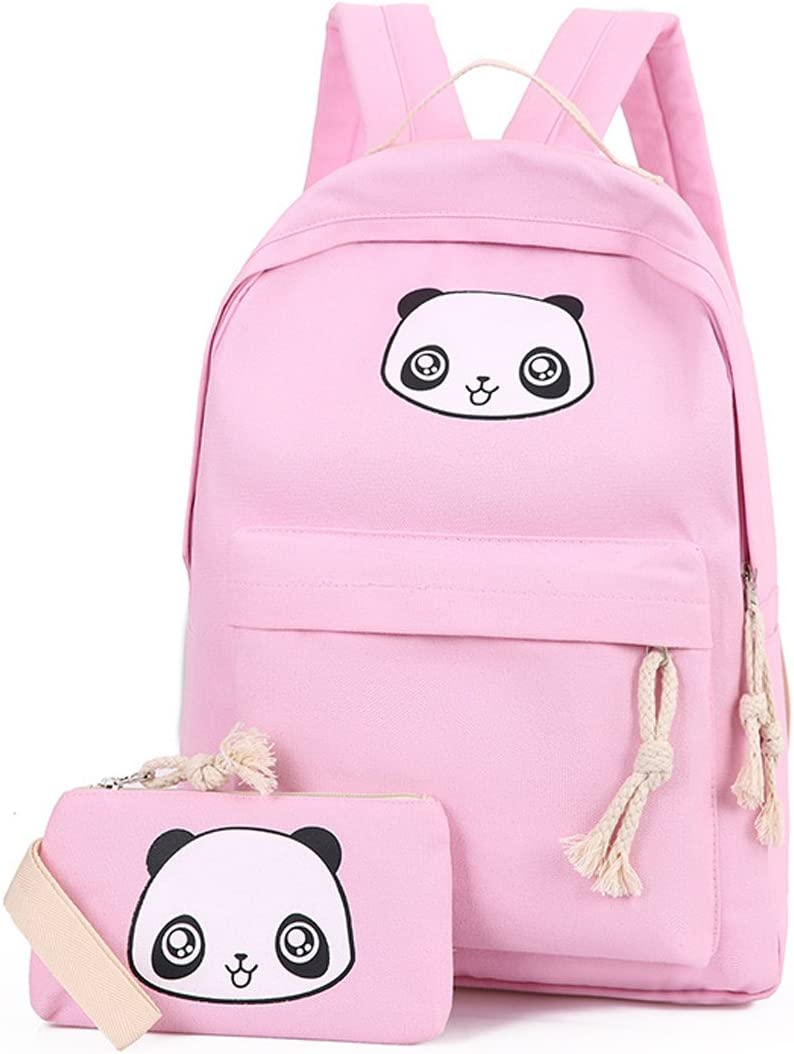 Nawoshow Cute Panda Backpack Lightweight Casual Canvas School Backpacks Book Bag for Teen Girls (Pink)