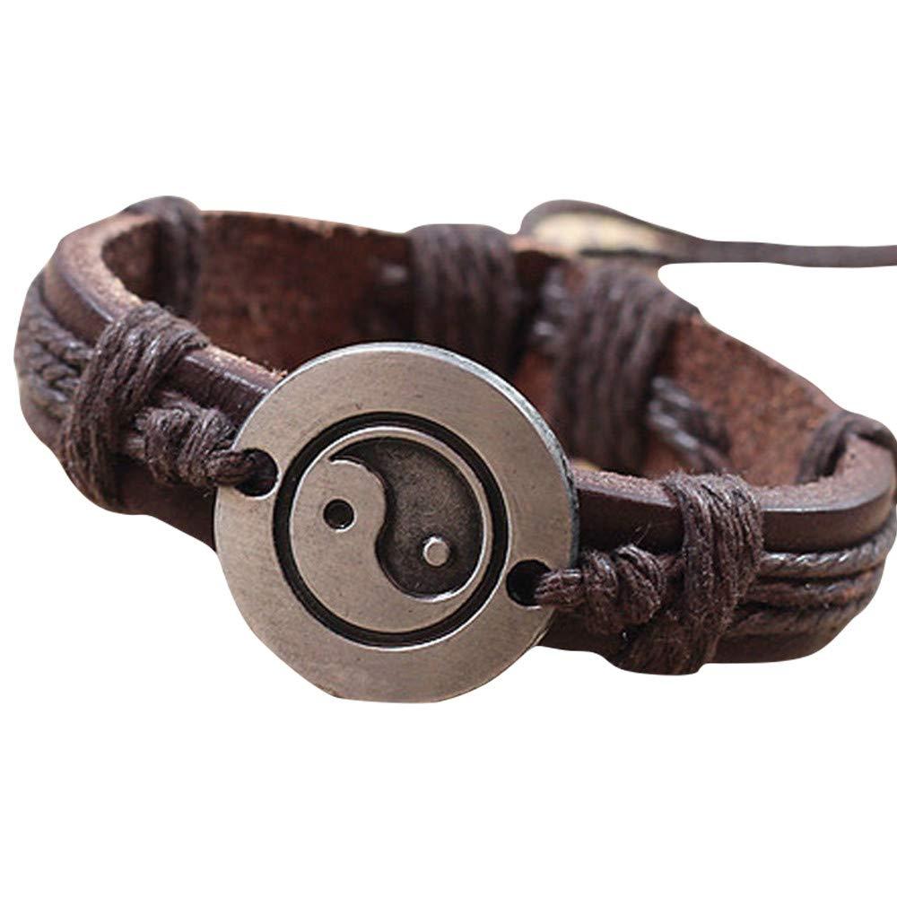 Hyuniture Vintage Bracelet for Unisex Yin and Yang Alloy Bracelet Leather Woven Brown Leather Adjustable
