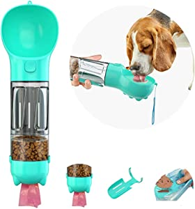 Petneer Dog Water Bottle, 4 in 1 Portable Dog Bowl Water Bottle with Food Container, Garbage Bag Storage, Dog Pooper Scooper, Travel Dog Water Bowl for Walking, Hiking, Parking and Outdoor