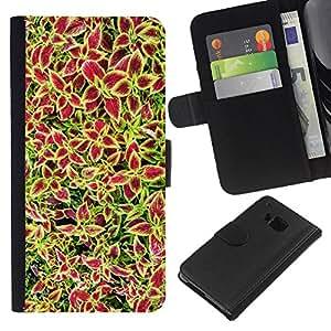 All Phone Most Case / Oferta Especial Cáscara Funda de cuero Monedero Cubierta de proteccion Caso / Wallet Case for HTC One M7 // Flowers Plants Red Green