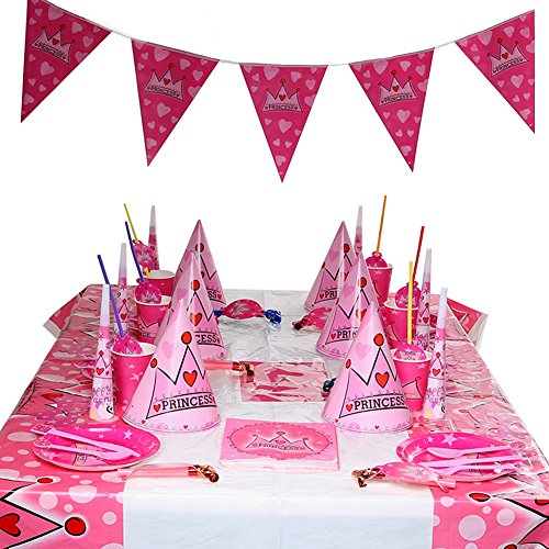 12 Sets Crown Theme Birthday Party Supplies Pack Bundle serves Plates,Cups,Napkins,Birthday Hat (3 Year Old Girl Birthday Party Themes)