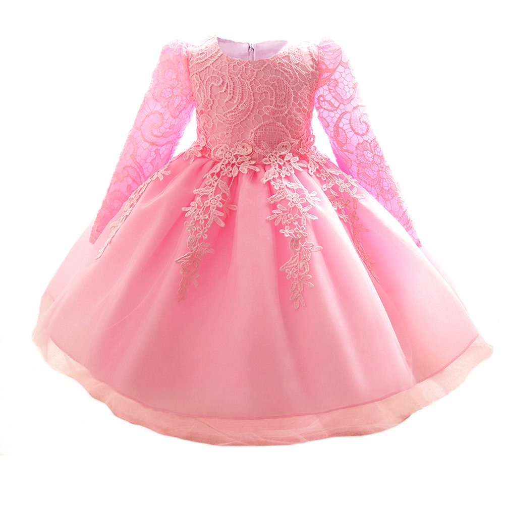 Amazon.com  Myosotis510 Girls  Lace Princess Wedding Baptism Dress Long  Sleeve Formal Party Wear for Toddler Baby Girl  Clothing 3552e3bb5b89