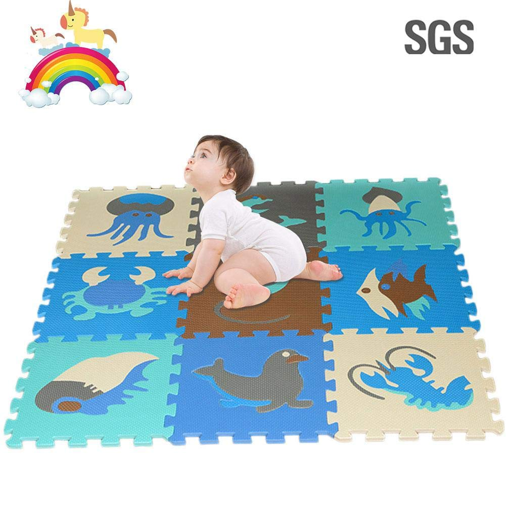 Window pick 9 Pieces Baby Puzzle Play Mats Children's Educational Toys Puzzle Crawling Mat Great for Kids to Learn and Play – Interlocking Puzzle Pieces Anti Slip Easy to Clean