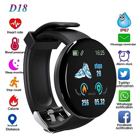 Amazon.com: RONSHIN D18 Smart Bracelet Fitness Tracker Heart ...