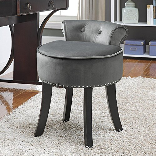 Inspired Home Taylor Velvet Contemporary Nail Head Trim Rolled Back Vanity Stool, Light Grey ()