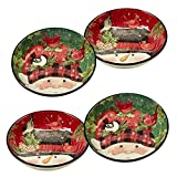 "Certified International Winter's Plaid Set/4 Soup/Pasta Bowl 9"" x 2"""