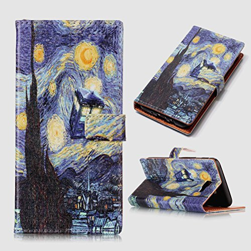 Galaxy On7 2016 Case,Galaxy J7 Prime Case - Vincent Van Gogh Starry Night Tardis Pattern PU Leather Wallet Case Stand Cover with Cash Card Slots for Samsung Galaxy On7 2016/J7 Prime
