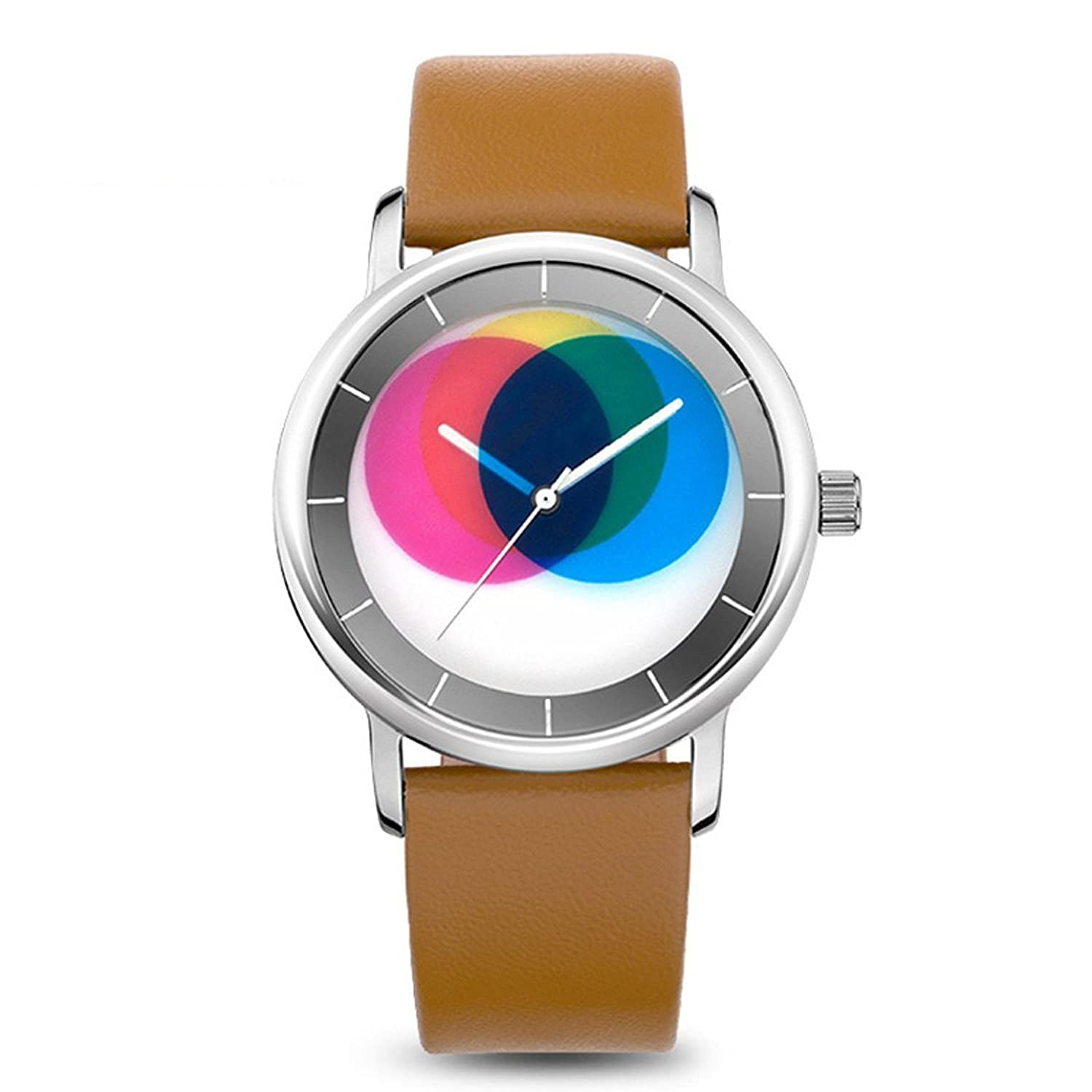 time2u Damen Fashion Concept minimalistisch Wakefunktion Colorful Zifferblatt Business Frauen Quarzuhr Armbanduhr