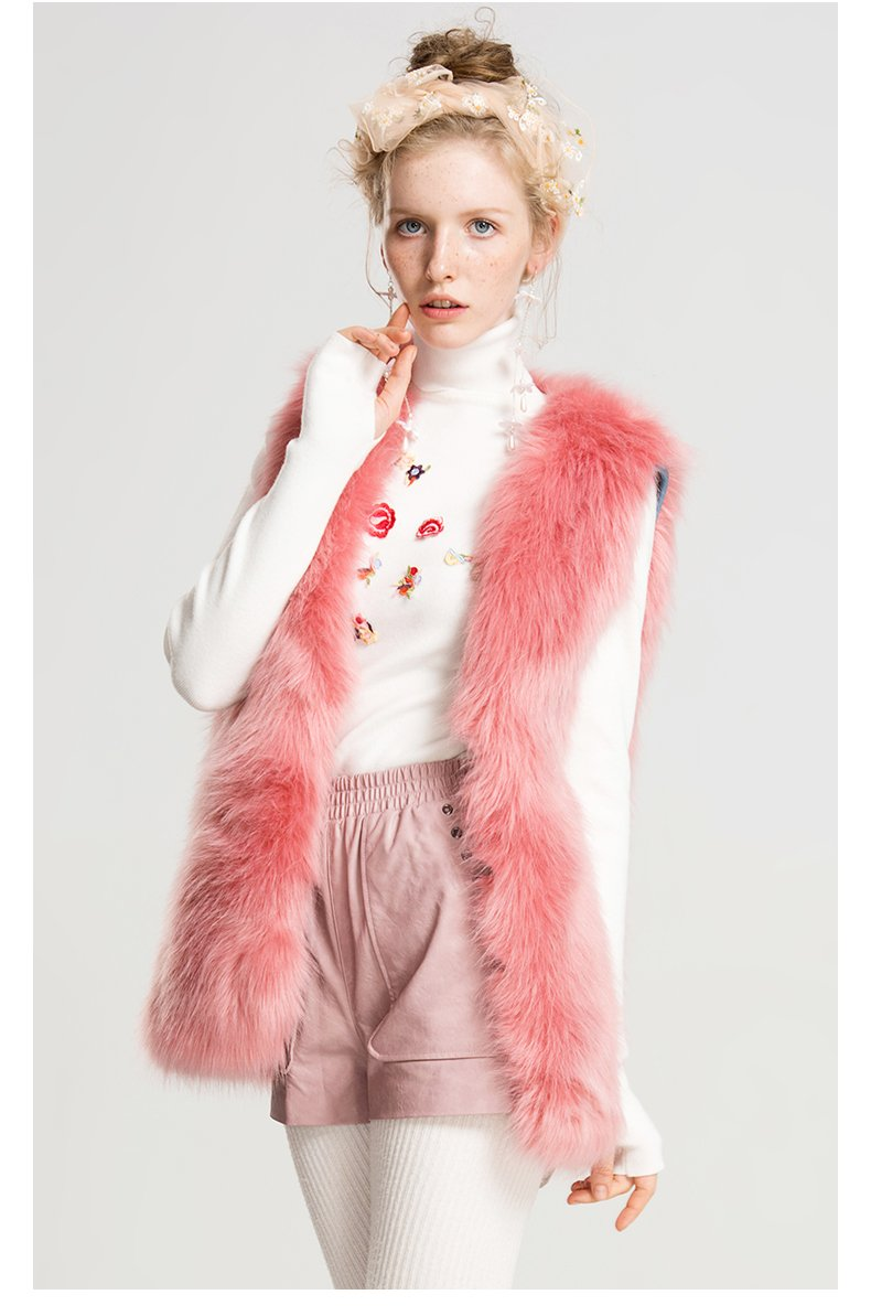 Generic Winter new Slim short paragraph sleeveless pink green fox fur vest warm coat jacket female 9652 for women girl