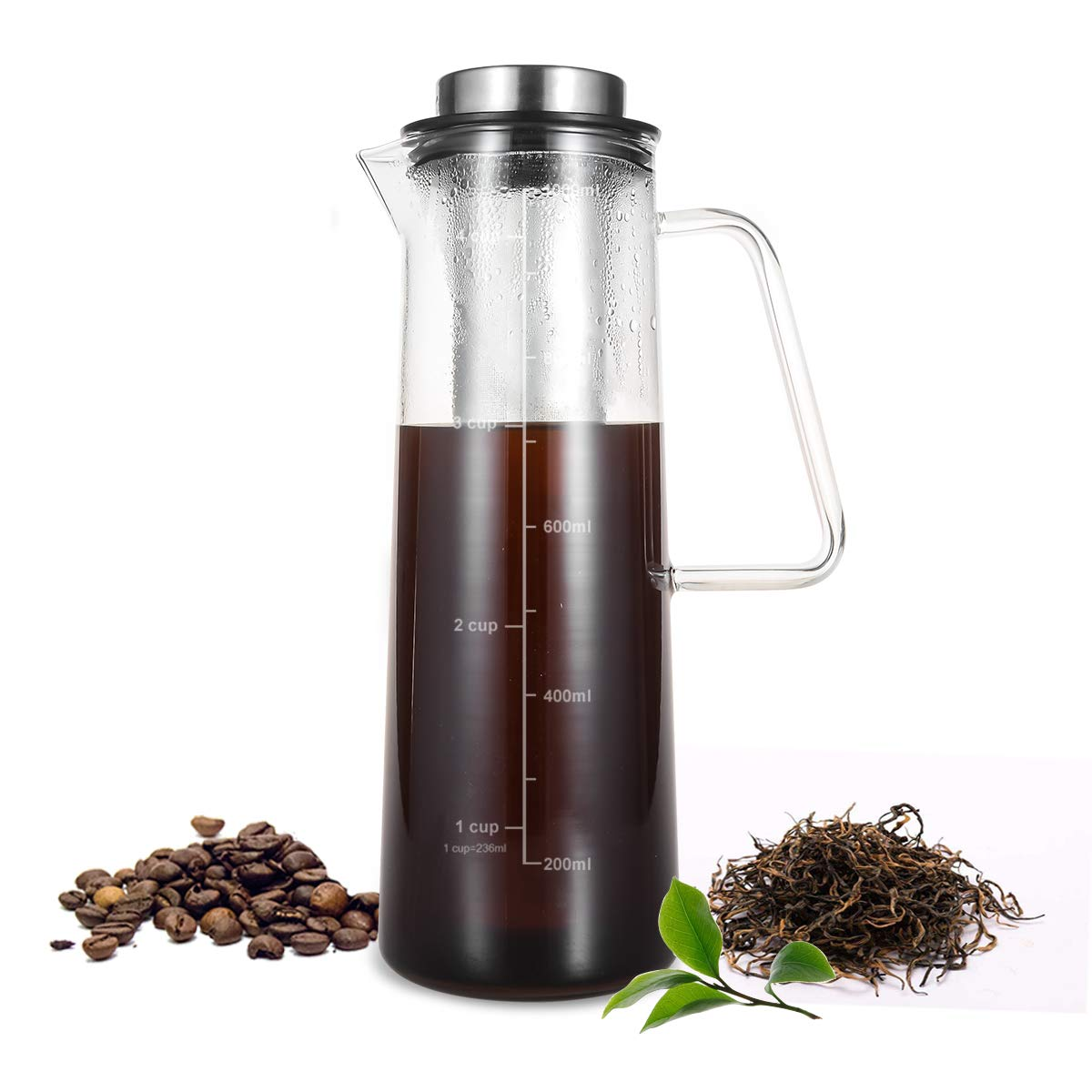 Cold Brew Coffee Maker, Brewed Iced Coffee/Tea Maker 1L/34oz, Thick Borosilicate Glass Carafe with Removable Stainless Steel Filter, BPA-Free