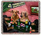 Home of Dachshund's Woven Throw Blanket 4 Dogs Playing Poker 54 x 38