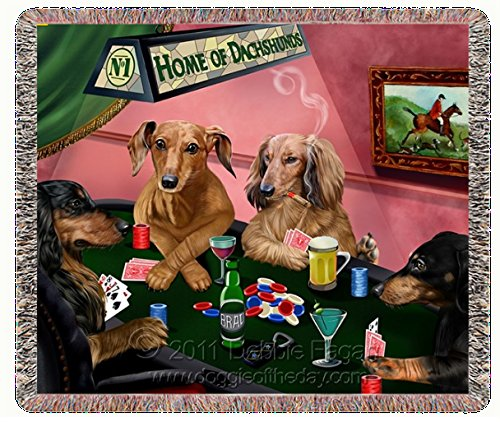 Home of Dachshund's Woven Throw Blanket 4 Dogs Playing Poker 54 x 38 by Doggie of the Day