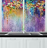 Watercolor Flower Kitchen Curtains Home Decor by Ambesonne, Mothers Day Abstract Floral Herbs Weeds Blossoms Ivy Florets Shrubs Design, Window Drapes 2 Panels Set for Kitchen Cafe, 55Wx39L Inch, Multi