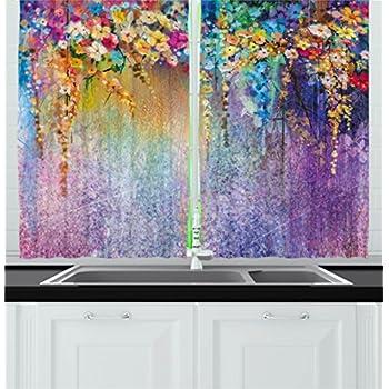 Amazon Com Watercolor Flower Kitchen Curtains Home Decor