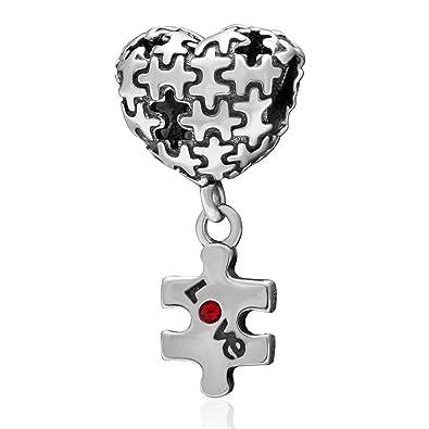 989465ed5197 Puzzle Corazón Amor Colgante 925 plata esterlina Pandora charms-shining  encanto  Amazon.es  Joyería