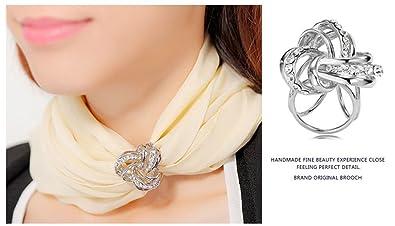 cfe15b039a65 CAREOR élégant moderne Design Simple pour femme Triple-ring Strass  métallique en soie foulards Clip