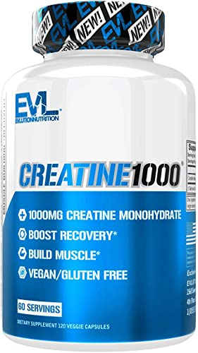 Evlution Nutrition Creatine1000, 1 Gram of Pure Creatine Monohydrate in Each Serving, Veggie Capsules 60 Servings