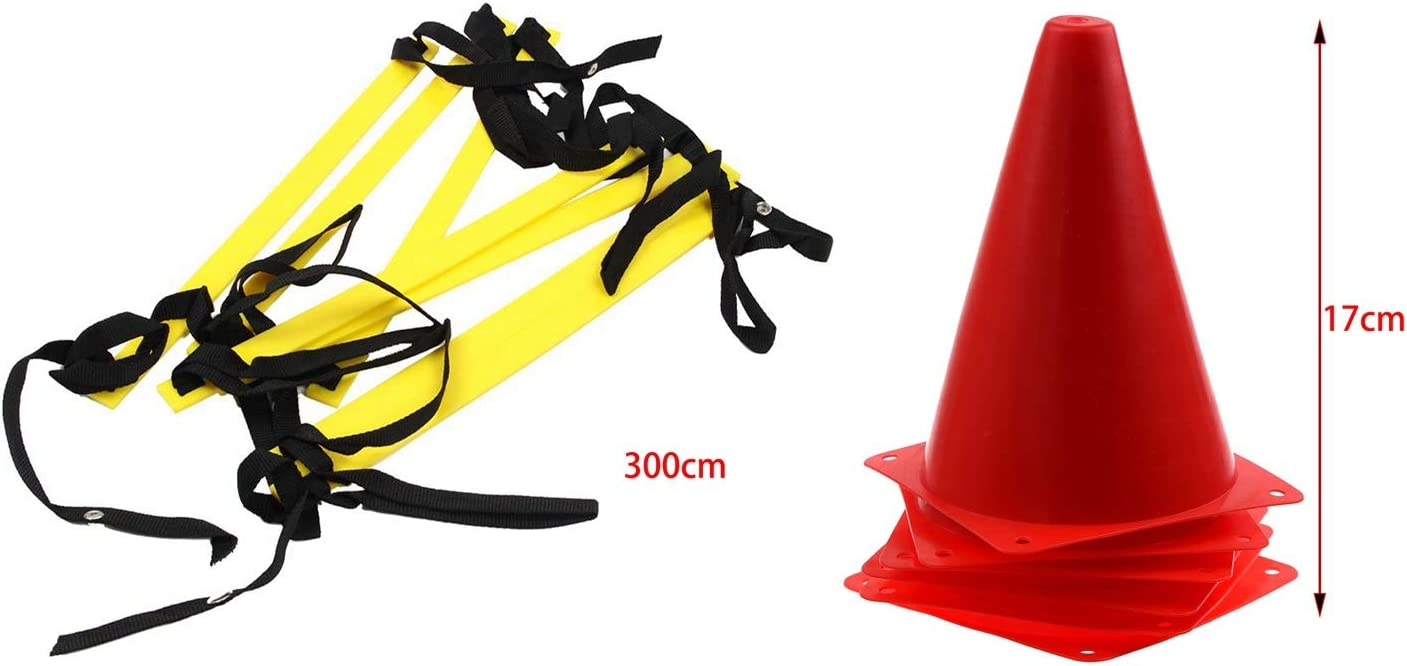 Huante - 6 conos de agilidad para fútbol, deportes de campo, perforación, marca roja y 1 escalera de agilidad de 10 pies, escalera de entrenamiento de fútbol rápida, 7 peldaños planos, color