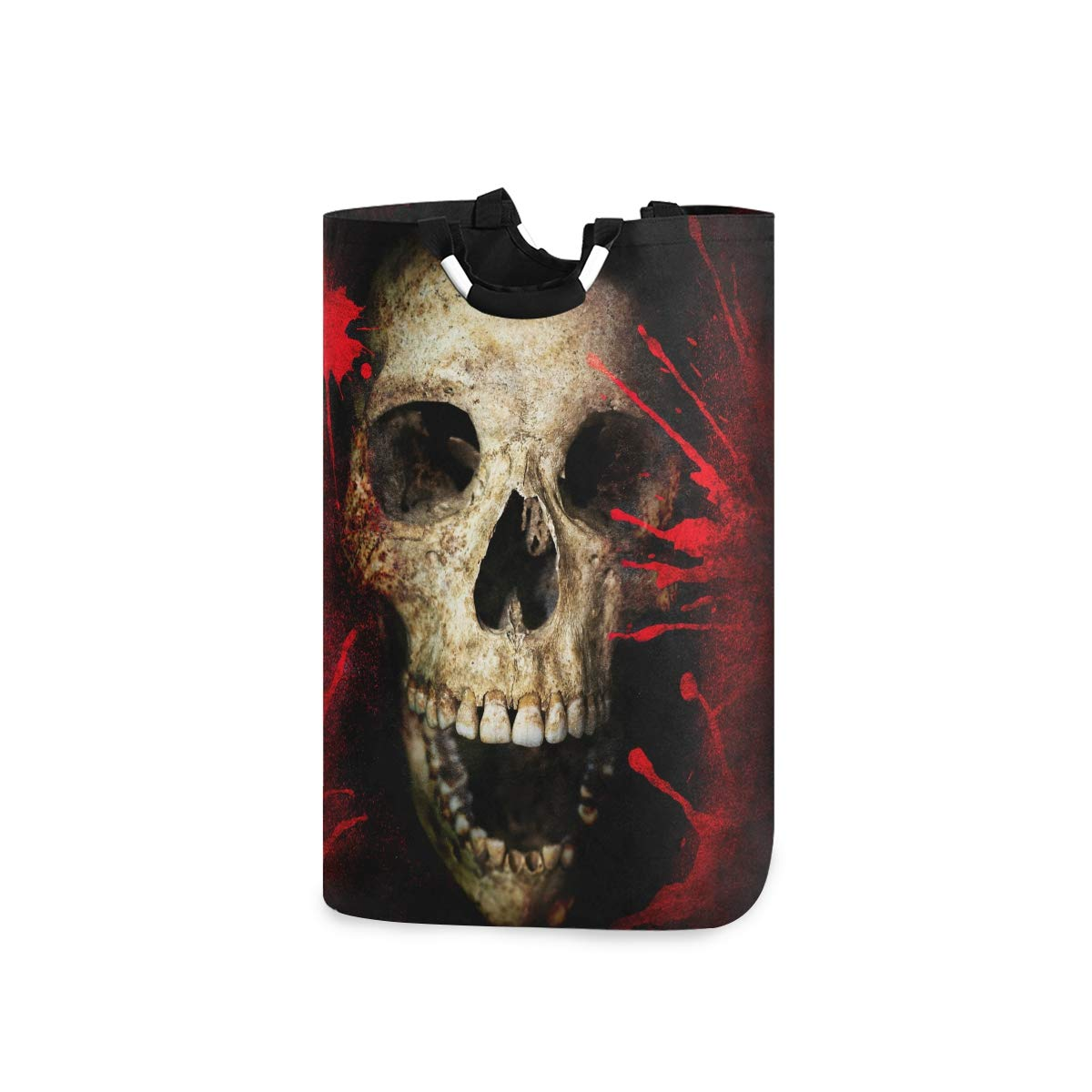 DOMIKING Laundry Storage Basket Skull and Blood Vintage Style Laundry Hamper Collapsible Organizer for Kids Room Dirty Cloth Toy Dorm Bag with Handle