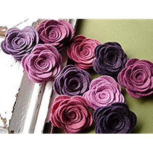 10 Wool Blend Felt Fabric Flowers - Large Posies - Vineyard Collection - Felt Flowers 57