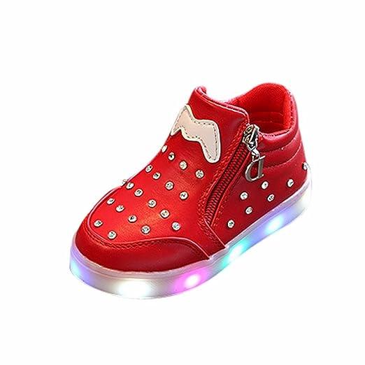 LED Sandalias de Verano Xinantime Niños Niñas Zapatos Zapatillas Luminosas con Luces LED de Cristal Claro 1-6 años (29, Rojo): Amazon.es: Relojes