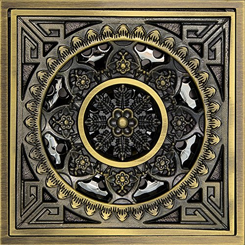 Antique Brass Plating - Hanghans Square Shower Floor Drain,Bathroom Tile Insert Floor Drainer with Removable Strainer Cover antique brass plating Finish Anti-clogging for Washroom Art Carved Shower (4 inch x 4 inch)